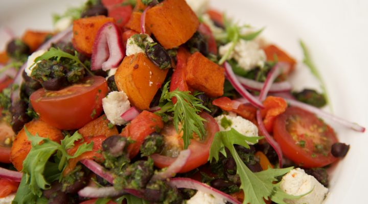 Turtle bean and butternut salad with green herb dressing