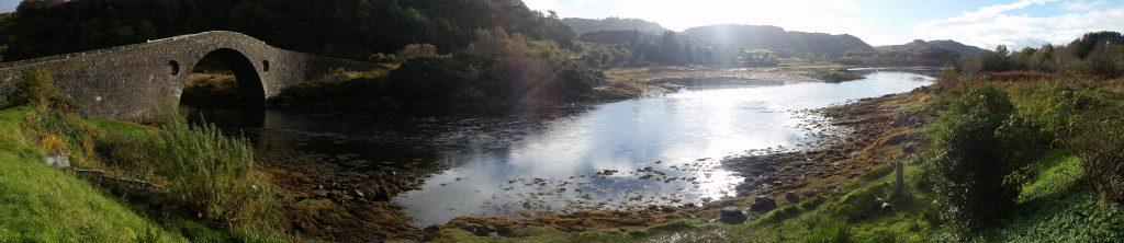 Panorama of the Clachan Bridge at the Isle of Seil
