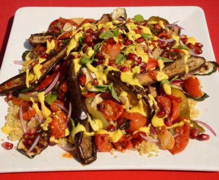 Roasted Ratatouille Salad with Saffron Cashew Yoghurt