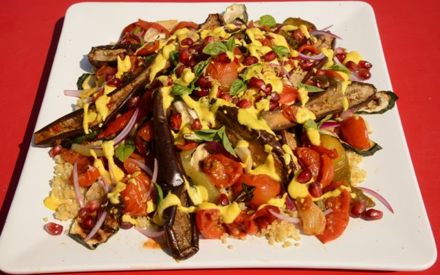 Roasted Ratatouille Salad with Saffron Cashew Yoghurt