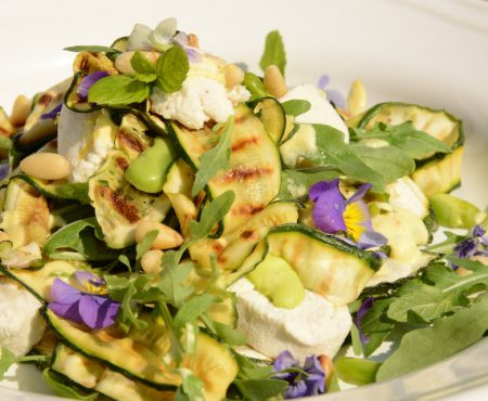 Char-grilled Zucchini ribbons with Cashew cheese & Pine nuts