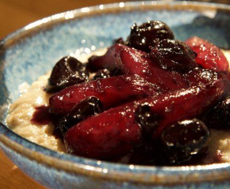 Pear & Cherry Compote with Creamy Porridge