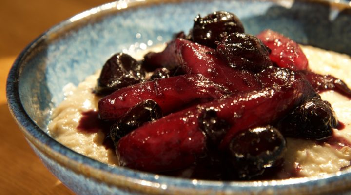 Pear & Cherry Compote with Creamy Porridge