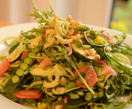 Raw Zucchini and Pea Salad with Avocado Basil Dressing