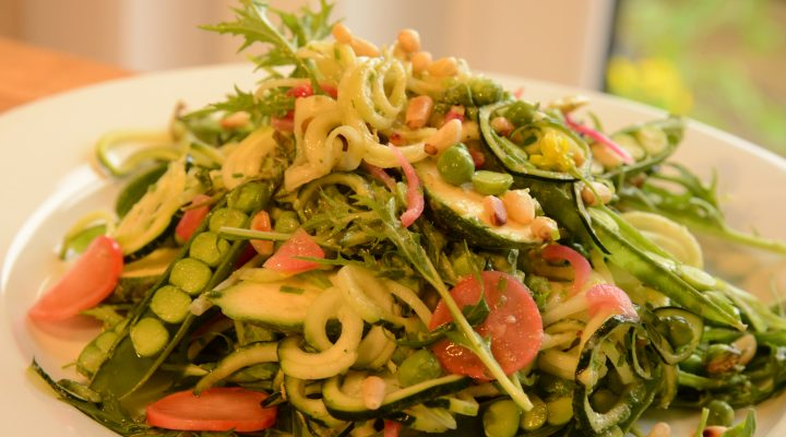 Raw Zuchinni and Pea Salad with Avocado Basil Dressing