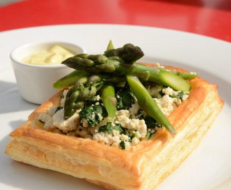 Asparagus with Tofu Ricotta and Cashew Hollandaise