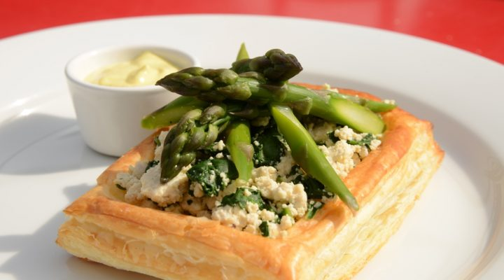 Asparagus with Tofu Ricotta and Cashew Hollandaise