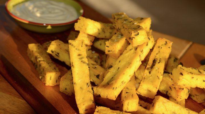 Baked Polenta Chips with Tofu Aioli