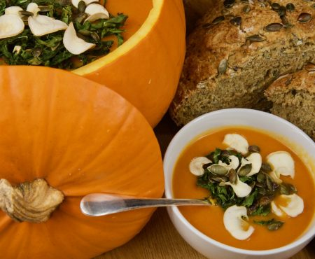 Pumpkin and Pepper Soup with Seeded Soda Bread