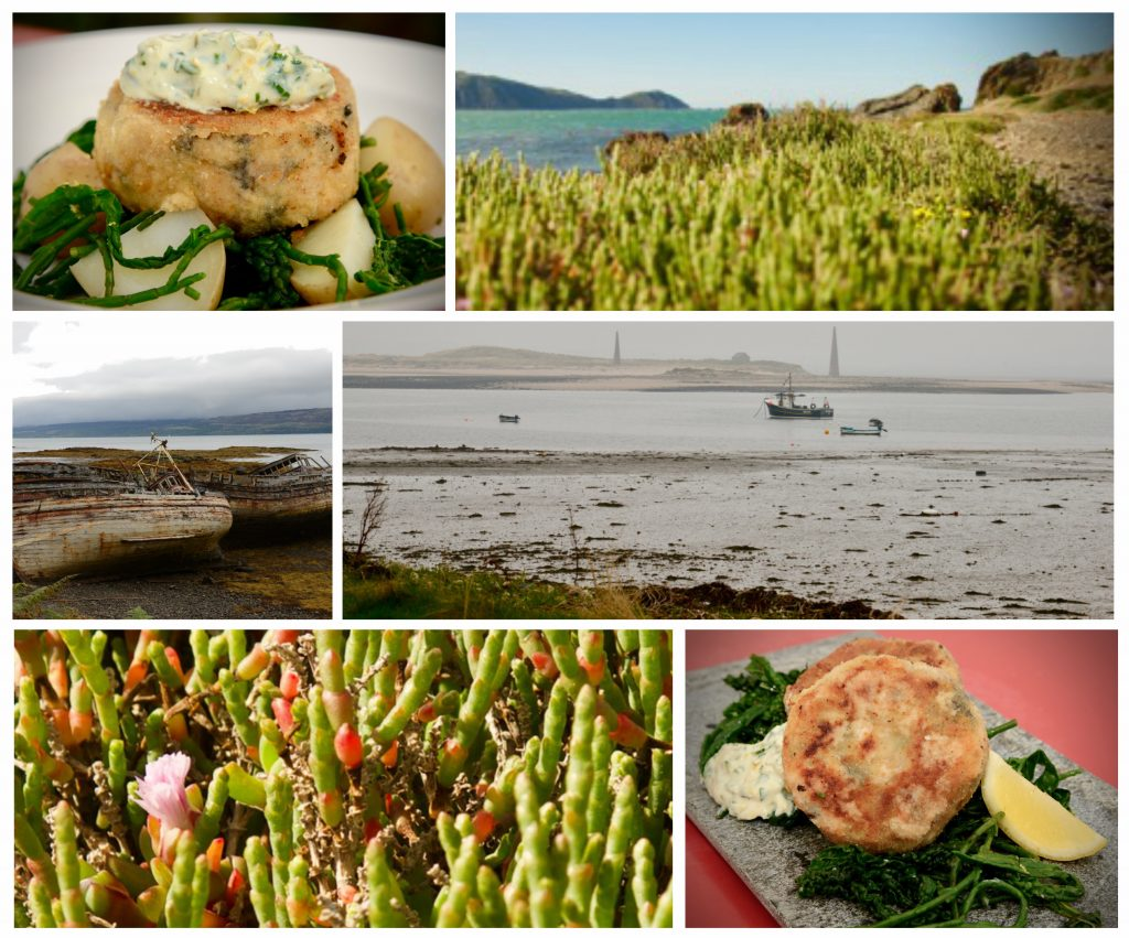"A collage showing ""seacakes"" - along with photos of the seaside and samphire"