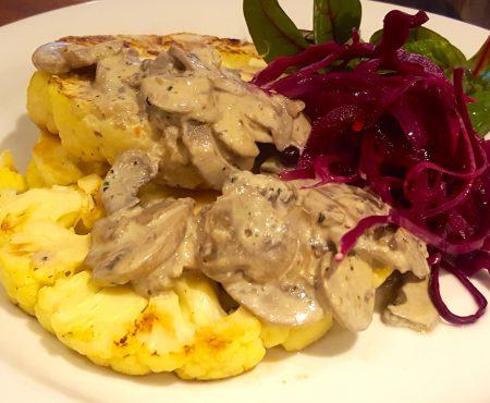 Cauliflower steaks with Mushroom Sauce