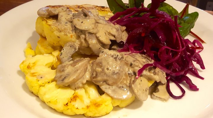 Cauliflower steaks, Mushroom sauce & quick pickled Red Cabbage