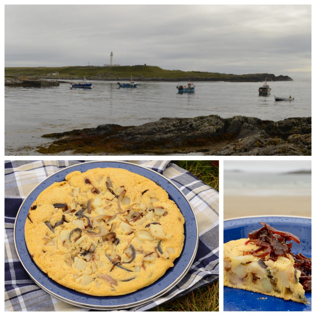 Images of a picnic in Portnahaven, Isle of Islay, Scotland