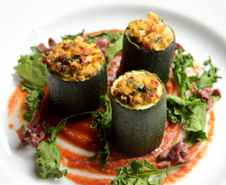 Zucchini Cannelloni with Tomato & Red Pepper Puree