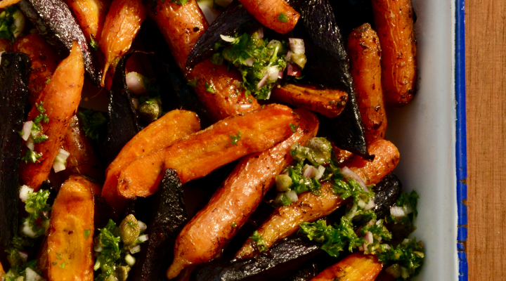 Roasted Carrots with Carrot Top Salsa Verde