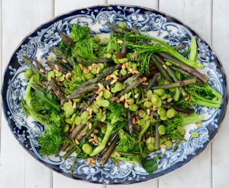 Green Spring Vegetables with Lemon Shallot Dressing