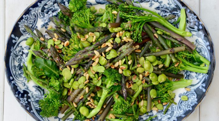 Green Spring Vegetables with Lemon Shallot Dressing
