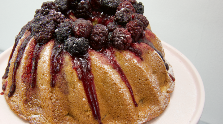 Apple Cake with Blackberries