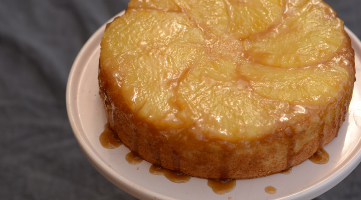 Pineapple Upside-Down Cake with Rum Caramel